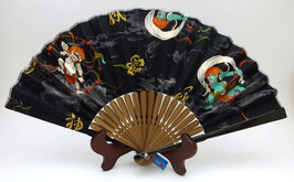 Eventail Fujin Raijin sur fond noir