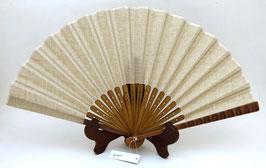 Eventail uni, lin et bambou, dominante marron clair