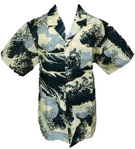 """Chemise """"La Vague"""" d'Hokusai sur fond beige clair"""