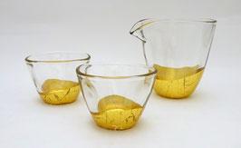 Service à saké feuilles d'or