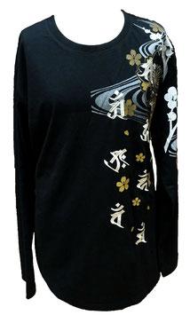 T-Shirt Noir Manches longues Tigres et Bouddha