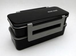 """Grande boîte à bento compactable """"Mode Line"""" (noire), sac isotherme"""