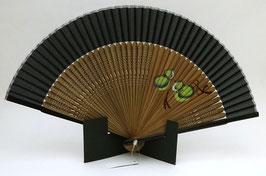 Eventail en soie et bambou Calebasses (noir)