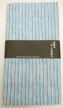 "Tenugui ""Rayures"" tricolores (vert clair, bleu clair, bleu foncé)"