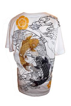 T-Shirt Blanc Brodé Carpes