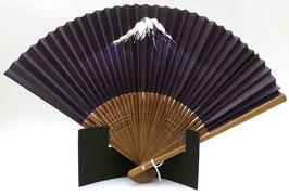 """Eventail papier Washi et bambou, """"Mont Fuji"""" sur fond bleu nuit"""