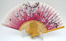 Eventail Sakura et papillon sur fond rose foncé