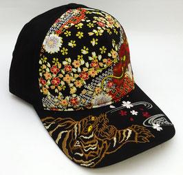 Casquette Dragon, Tigre et Sakura (noir)
