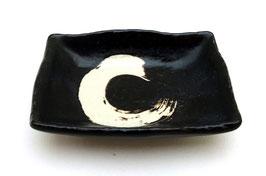 Coupelle carrée pour sauce soja, motif Ensô (noir nuance marron)