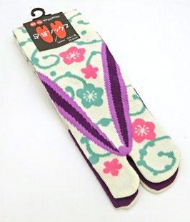 Chaussettes Tabi Arabesques et Fleurs sur fond blanc mat et revers violet (Taille 35/36 - 39)