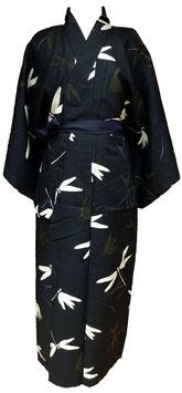 Kimono en coton, Libellules blanches et grises sur fond bleu (sans ceinture)