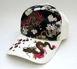 Casquette Dragon, Sakura et Nuages (blanc)