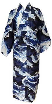 "Yukata ""La Vague"" d'Hokusai (fond bleu marine)"