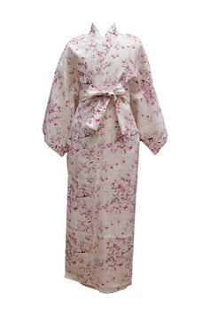 "Yukata  ""Branches de Sakura"" (sakura eda) sur fond blanc ivoire"