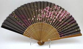 Eventail en soie Fleurs de Sakura, Ondes et Paillettes dorées (nuances de brun)