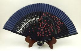 Eventail en soie et bambou Branches et Fleurs de Sakura (bleu marine uni)