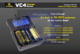 XTAR 4-Schacht USB-Ladegerät, LC-Display für Li-Ion & NiMH Akkus VC4