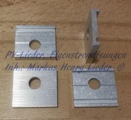Montageplättchen mit M8 oder M10 Bohrung für verstellbare Aufständerung, Alu, pro Stück