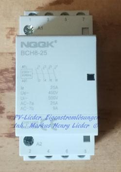 Installationsschütz 25A 4S 230V AC Model BCH8-25, NEU, pro Stück
