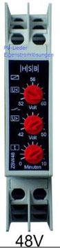 Spannungsüberwachung 48V, Batteriewächter ZBW, Tiefenentladeschutz und Überspannungsschutz für Hutschienenmontage