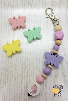 Anhänger für Kindergartentasche Einhorn & Schmetterling
