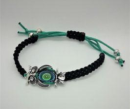 Armband Makramee Schwarz Eule Jadegrün