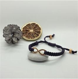 Armband Makramee Violett Infinity