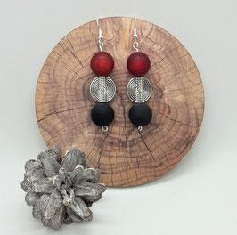 Ohrschmuck Perlen (rot-schwarz-silber)