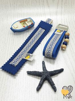 ♥ Geschenkset: Buchzeichen + Schlüsselanhänger Kreta Blau