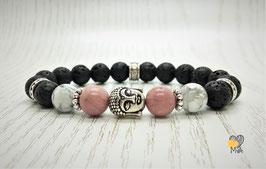 Perlenarmband Buddha (Lava/Rhodonit/Howlith)