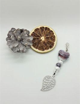 Schmuckanhänger Blüte / Herz Lila