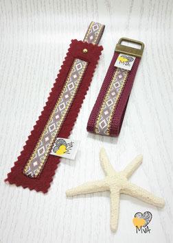 ♥ Geschenkset: Buchzeichen + Schlüsselanhänger Bordeaux Or