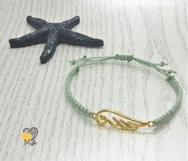 Armband Makramee Engelsflügel salbeigrün