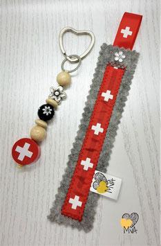 ♥ Geschenkset: Buchzeichen + Schlüsselanhänger Schweizerkreuz