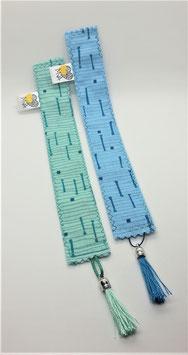 Buchzeichen Muster Blau / Mint