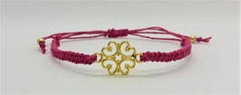 Armband Makramee Ornament Gold-Pink