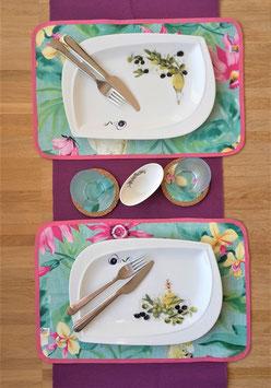 Wende Tischset Flamingo-Blumen, 4-teilig