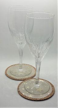 Glasuntersetzer Glitzersterne, 4er-Set