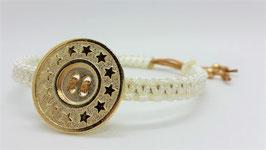 Armband Makramee Beige Button Gold