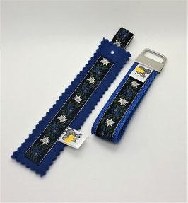 ♥ Geschenkset: Buchzeichen + Schlüsselanhänger Edelweiss Blau