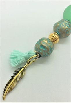 Schmuckanhänger Feder (smaragd-gold)