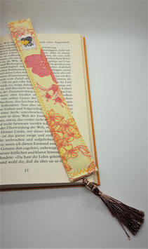 Buchzeichen Blumen Gelb-Rosa