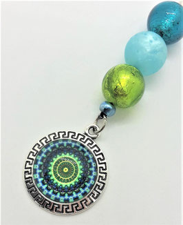 Schlüsselanhänger Perlen Mäander (blau-grün)