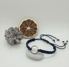 Armband Makramee Blau Ring Silber