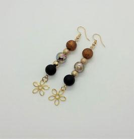 Ohrschmuck Perlen (braun-schwarz-gold)