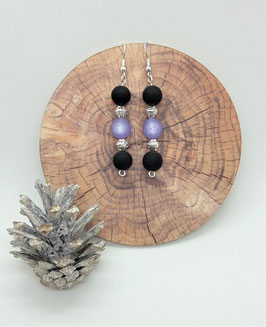 Ohrschmuck Perlen (schwarz-lila-silber)