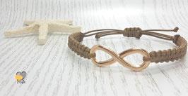 Armband Makramee Braun Infinity