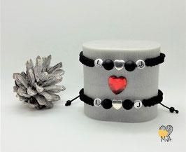 ♥Geschenkset: 2 Partnerarmbänder Makramee, personalisierbar