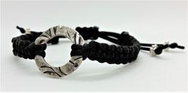 Armband Makramee Schwarz Rondelle Silber