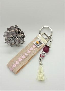 Schlüsselanhänger Herzen Rosa / 100 % Kork